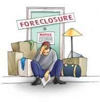 sad man foreclosure sign